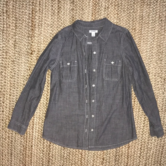 Old Navy Tops - Grey chambray long sleeve button down shirt
